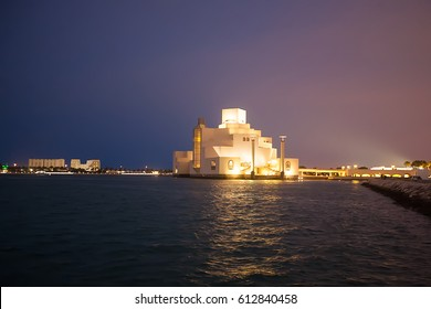 Museum of Islamic Art at night, Doha, Qatar