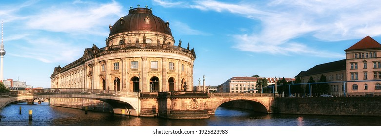 Museum island in Berlin on river Spree early afternoon. This image is toned.