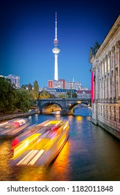 Museum island on the Spree with TV tower on the background at night in Berlin, Germany