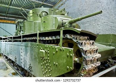 MUSEUM KUBINKA, MOSCOW REGION, RUSSIA - Aug 23, 2014: Soviet multi-turreted heavy tank T-35. 1935