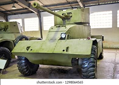 MUSEUM KUBINKA, MOSCOW REGION, RUSSIA - Aug 23, 2014: British armoured Car AEC Mk II 1940