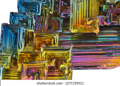 MUSEUM MINERAL SERIES: bismuth crystals, macro. This is the most strongly diamagnetic element and also the heaviest that is not radioactive.