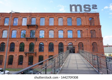 MUSEUM MS2, LODZ, POLAND, JULY 02 2019 :Inner square of Manufaktura, an arts centre, shopping mall, and leisure complex in Lodz, Poland.Museum of the City of Lodz