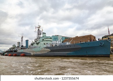 Museum ship with visitors on river Thames