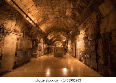 The museum in the tunnel under the Great Court of the temple of Jupiter. The ruins of the Roman city of Heliopolis or Baalbek in the Beqaa Valley. Baalbek, Lebanon - June, 2019