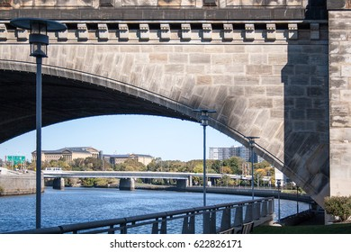 Museum viewed from across the Schuylkill River and under a bridge in Philadelphia, Pennsylvania