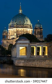 Museumsinsel in Berlin with Berliner Dom. River Spree in foreground.