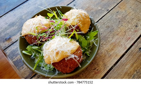 Mushroom Arancini with Semi-dried Tomato Aioli, Parmesan and Rocket