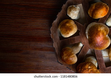 Mushroom Boletus over Wooden Background. Autumn Cep Mushrooms. Ceps Boletus edulis over Wooden box, close up on wood rustic table. Cooking delicious organic mushroom. Gourmet food