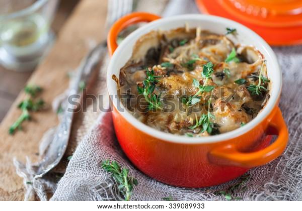 Mushroom and Chicken Gratin