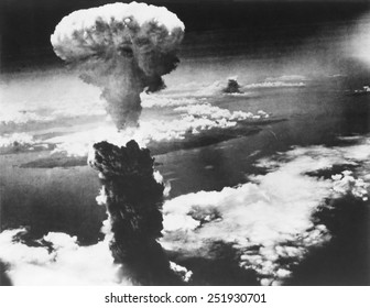 Mushroom Cloud of Atom Bomb exploded over Nagasaki, Japan, on August 9, 1945. World War 2.