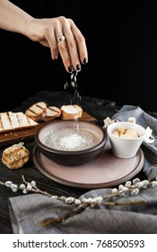 Mushroom cream soup with champignons served with croutons