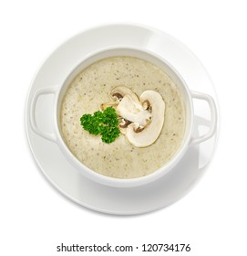 Mushroom cream soup isolated on white, top view