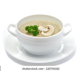 Mushroom cream soup isolated on white