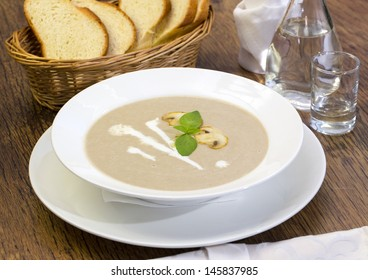 mushroom cream soup on the table in a restaurant