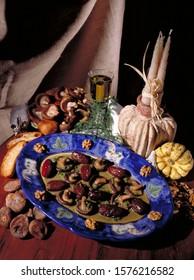 Mushroom dish still life food composition