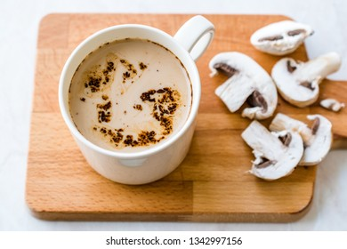Mushroom Latte Coffee with Milk and Espresso on Wooden Board Ready to Drink.