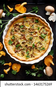 Mushroom quiche with addition chanterelle mushrooms and brown mushrooms on a black background, top view