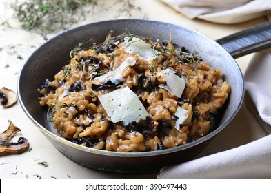 Mushroom Risotto on Vintage Pan