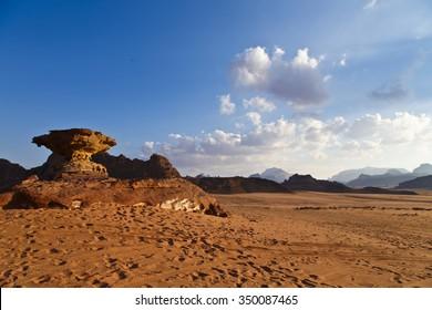 Mushroom rock formation in Wadi Rum desert, Jordan