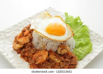 Mushroom and shrimp curry rice