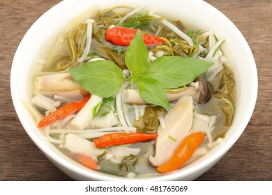 Mushroom soup, a delicious dish for a typical Northeast of Thailand, cook with all kind of mush room and herb