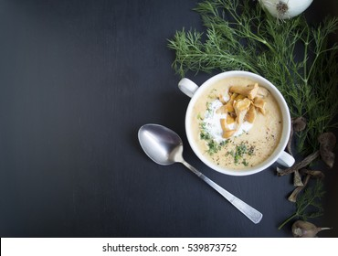 Mushroom soup with dill and croutons.