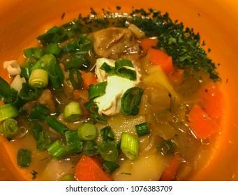 Mushroom soup in orange bowl, closeup