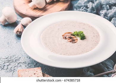 Mushroom soup with parsley on rustic gray background, close up