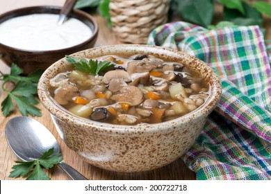 mushroom soup with pearl barley, close-up