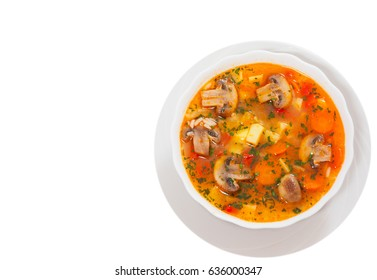 mushroom soup with rice and vegetables. top view. isolated on white