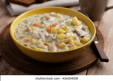 Mushroom soup with vegetables and cream