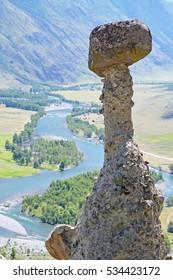 The Mushroom Stone, Valley of river Chulyshman,  Akkurum, Altai. Russia