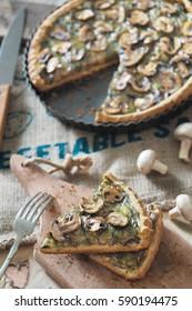 mushroom tart on the table