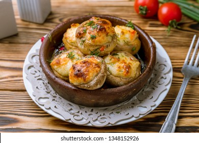 mushrooms baked with Suluguni cheese