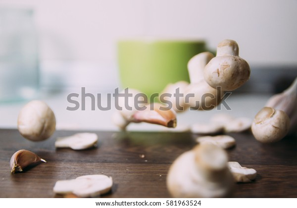 mushrooms, cooking in the kitchen, home cooking