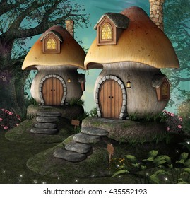 Mushrooms little houses - 3D illustration