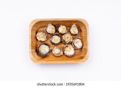 Mushrooms stuffed with old cheddar and cooked