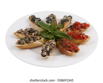 Mushrooms Tomato Italian Bruschetta Antipasto Appetizer Bread Snack Dish Set