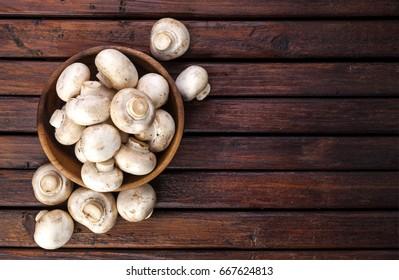 Mushrooms, top view