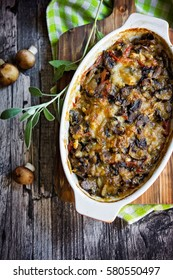Mushrooms and vegetables gratin