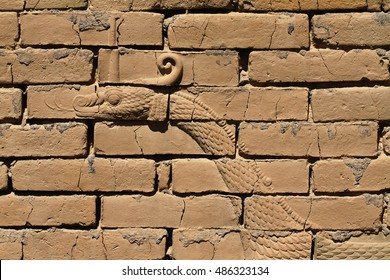 Mushussu, the dragon of Marduk, depicted as bas-relief on the original Ishtar gate, ancient Babylon, Iraq.