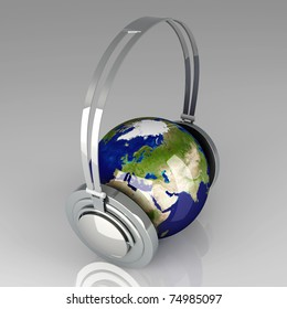 The music of Asia. Headphones and a world globe. 3D rendered Illustration.