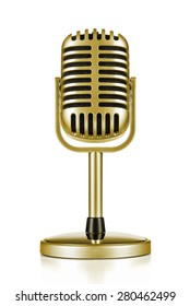 Music award, vintage gold microphone isolated on white background