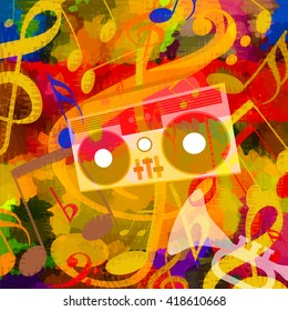 Music background with boombox, trumpet, musicial notes and bright cheerful mood
