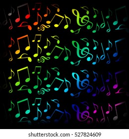 Music background with colorful musical notes