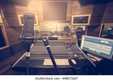 Music background and equipment,condenser microphone on reconding room,retro