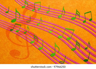 music background with notes  on color cement