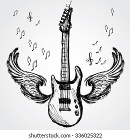 music background with rock guitar and wings