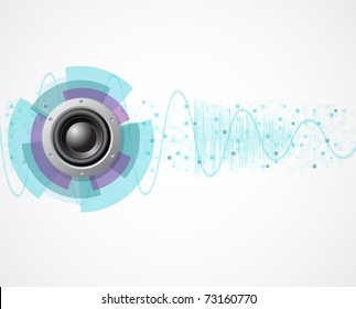 music background with speaker and wave